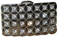 SHINY Gürtelschnalle in silber für Damen mit Strasssteinen 4cm