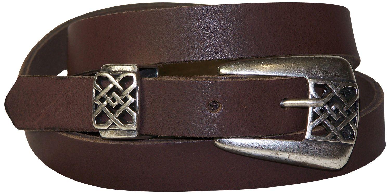 cc3d2c8f9a9ef DIANE 2: FRONHOFER schmaler Gürtel Damen 2cm arabeske Gürtelschnalle silber  Ledergürtel