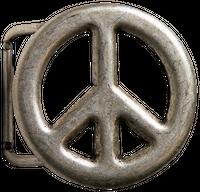 PEACE Gürtelschnalle 4 cm Peace-Zeichen silber, unisex