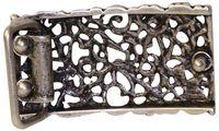 FRONHOFER Floral antique silver belt buckle for women, for 1.2 /3cm belts 18202