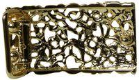 FRONHOFER Floral gold belt buckle for women, floral plaque buckle, for 1.2 /3cm belts