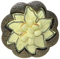 FLOWER Gold-tone belt buckle, yellow leather flower, plaque buckle for women, 1.5 /4 cm 18206