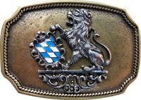 BAVARIA VIII Brass belt buckle, Bavarian coat of arms, traditional lion buckle, 1.5 /4cm belts 18208