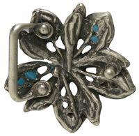 HAWAII flower belt buckle in turquoise with rhinestones, for women, 1.2 /3cm buckle
