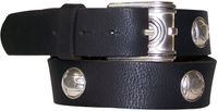ELVIRA Women's genuine leather belt with a decorative silver buckle and studs 1.5 /4cm