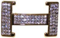 FRONHOFER Gold H-shaped rhinestone belt buckle for women, 1.4 /3.5cm 18296