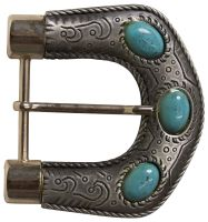 ERIKA Large buckle for women, turquoise stones, silver, cowgirl 1.5 /4cm