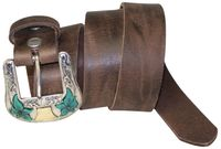 EL PASO Western belt in genuine leather, vintage look, Western buckle 1.4 /3.5cm