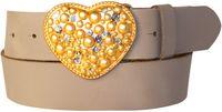 Heart of Gold: Strass Herz Damengürtel 4 cm aus echtem Leder, goldene Herzgürtelschnalle mit Straß