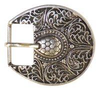 KSENIJA ovale Gürtelschnalle, florale Ornamente, silber, Damen, 2,5 cm