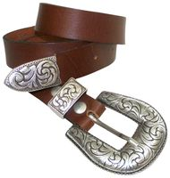 ANGELINA Damengürtel 3 cm Vollrindleder vom Büffel 3-teilige Gürtelschnalle Westernstyle silbern