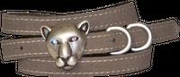 SIMBA Tiger Panther Kopf Gürtelschnalle Straß, schmaler Gürtel Damen 1,5 cm
