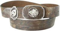 FREIWILD Trachtengürtel Jagdgürtel Eber Motiv, echtes Leder 4 cm Koppelschnalle mit Trachten- und Jagdmotiven