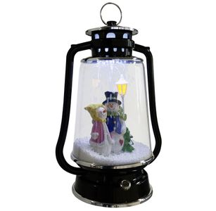 Schneiende LED-Laterne Schneemann-Paar 35 cm Weihnachtsdekoration, schwarz
