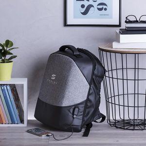 Diebstahlsicherer Rucksack Black/Grey mit USB und Fach für Tablet und Laptop – Bild 3