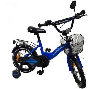 "Kinderfahrrad 18 Zoll ""Tomabike Platinum"" Blue inkl. Fahrradkorb u. Stützrädern – Bild 1"