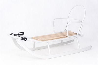 Schlitten Rodel mit abnehmbarer Rückenlehne u. verstellbarer Schubstange Holz und Metall weiß – Bild 9