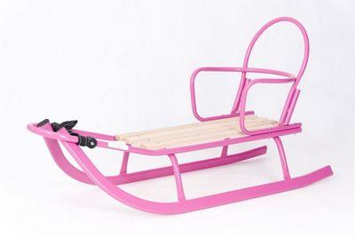 Schlitten Rodel mit abnehmbarer Rückenlehne u. verstellbarer Schubstange Holz und Metall pink – Bild 2