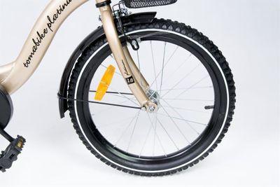 "Kinderfahrrad 18 Zoll ""Tomabike Platinum"" Gold/Black inkl. Fahrradkorb u. Stützrädern – Bild 3"