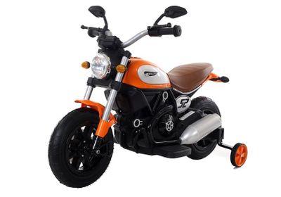 Kindermotorrad SCRAMBLER V-TWIN Supermoto Orange Elektromotorrad 12V Kinderfahrzeug elektrisch – Bild 4