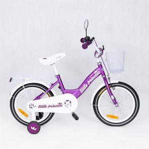 "Kinderfahrrad 16 Zoll ""Little Princess"" Violett inkl. Fahrradkorb u. Stützrädern – Bild 2"