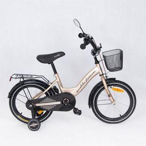 "Kinderfahrrad 16 Zoll ""Tomabike Platinum"" Gold/Black inkl. Fahrradkorb u. Stützrädern – Bild 2"