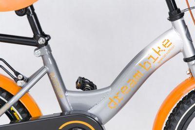 "Kinderfahrrad 12 Zoll ""Dream Bike"" Platinum Special Edition silver/orange inkl. Fahrradkorb u. Stützrädern – Bild 2"