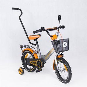 "Kinderfahrrad 14 Zoll ""Dream Bike"" Platinum Special Edition silver/orange inkl. Fahrradkorb u. Stützrädern – Bild 1"