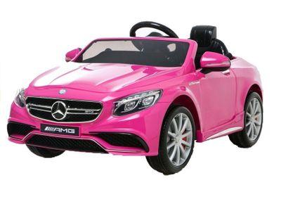 Kinderauto Mercedes S63 AMG 12V Pink Kinderfahrzeug elektrisch – Bild 2