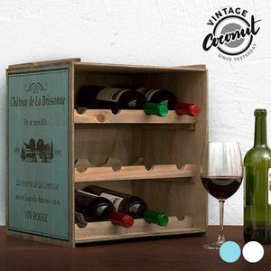 Vintage-Weinregal aus Holz, blau
