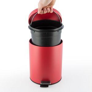 Treteimer Abfalleimer 5 Liter aus Metall, rot – Bild 3