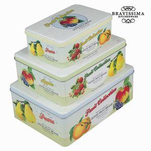 Set mit drei Zinnboxen Vorratsdosen Früchte - Kitchen's Deco Kollektion – Bild 1