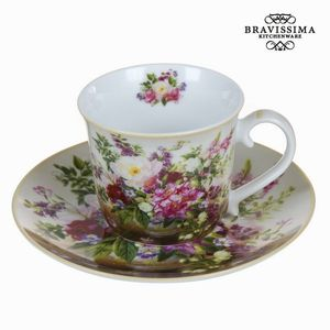 Naturblumenstrauß Tasse mit Untertasse - Kitchen's Deco Kollektion