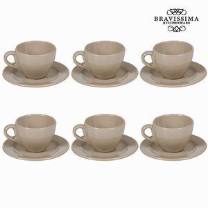 6-teiliges Set Teetassen mit Untertasse Taupe - Kitchen's Deco Kollektion – Bild 1