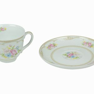 Bouquet weiße Tasse mit Untertasse - Kitchen's Deco Kollektion – Bild 2