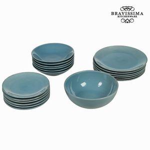 19-teiliges blaues Geschirrset Design - Kitchen's Deco Kollektion