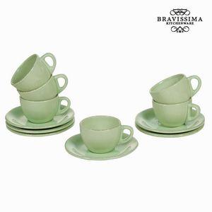 Set aus 6 grünen Tassen und Untertassen Design - Kitchen's Deco Kollektion