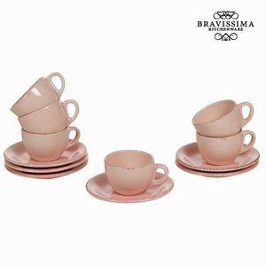 Set aus 6 rosanen Tassen und Untertassen - Kitchen's Deco Kollektion