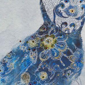 "Fotoleinwand Leinwanddruck ""Frau im blauen Kleid"", 60 x 90 cm – Bild 2"