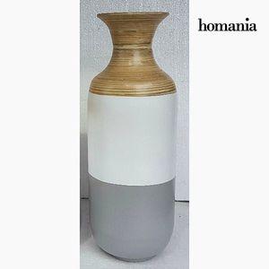 Dekovase aus Bambus, grau-weiß, 25 x 25 x 62 cm