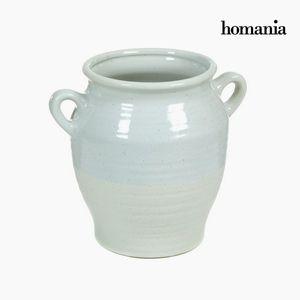 Dekovase aus Keramik mit Griffen, türkis