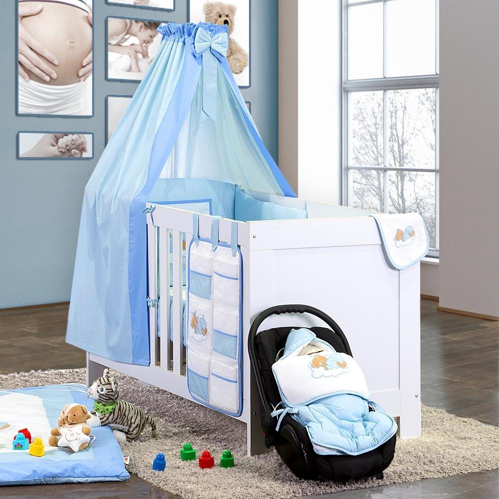 Baby Bettset 5-tlg. Sleeping Bear Babybettset Baumwolle Beige Blau Grün Gelb Weiss Grau Rosa – Bild 6