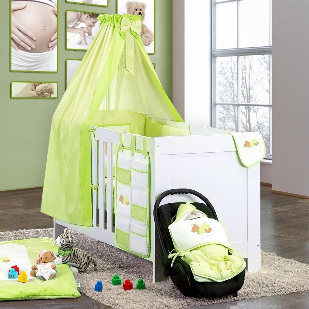 Baby Bettset 5-tlg. Sleeping Bear Babybettset Baumwolle Beige Blau Grün Gelb Weiss Grau Rosa – Bild 14