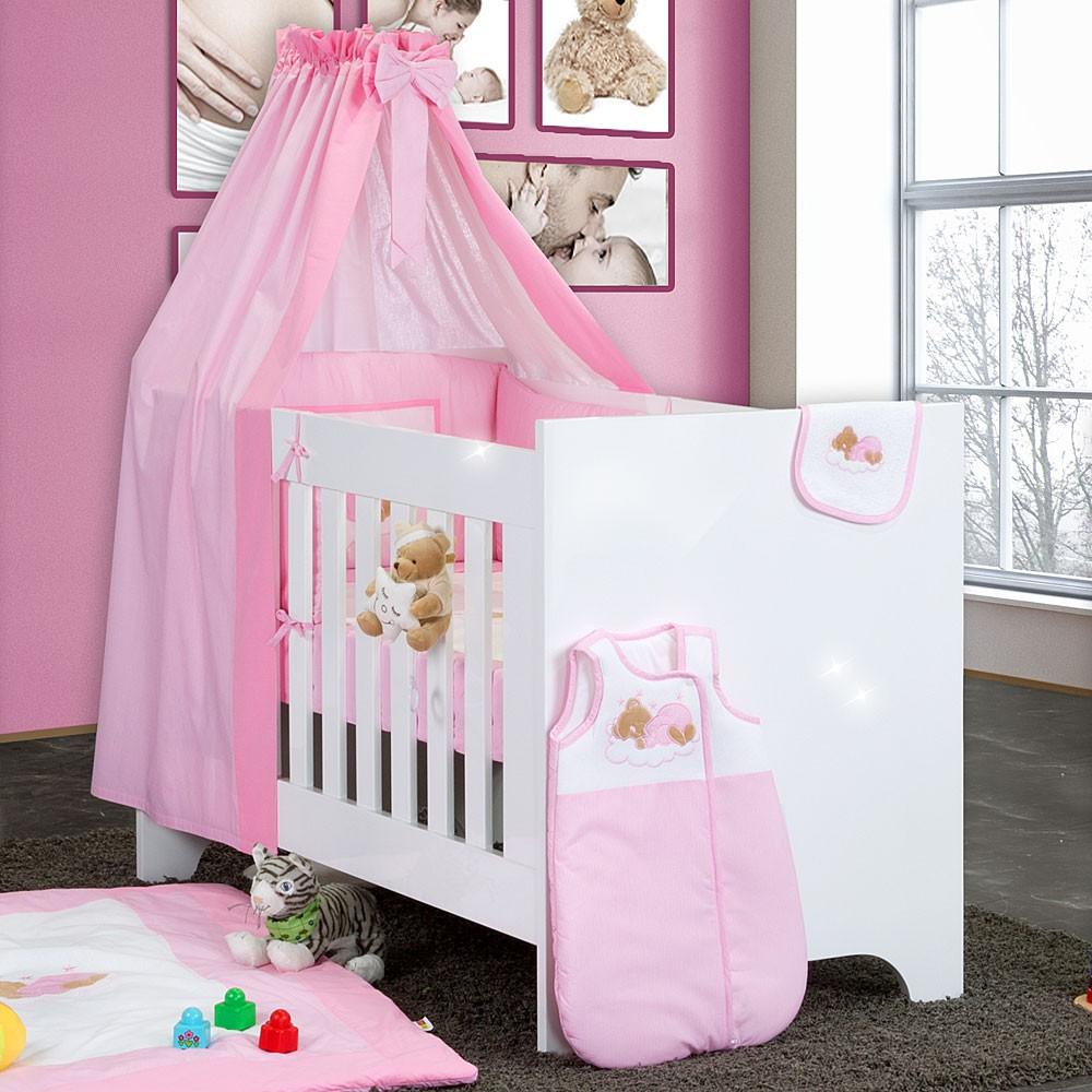 Hochglanz Babybett 8 Teilig Mit Sleeping Bear Rosa Baby Mobel