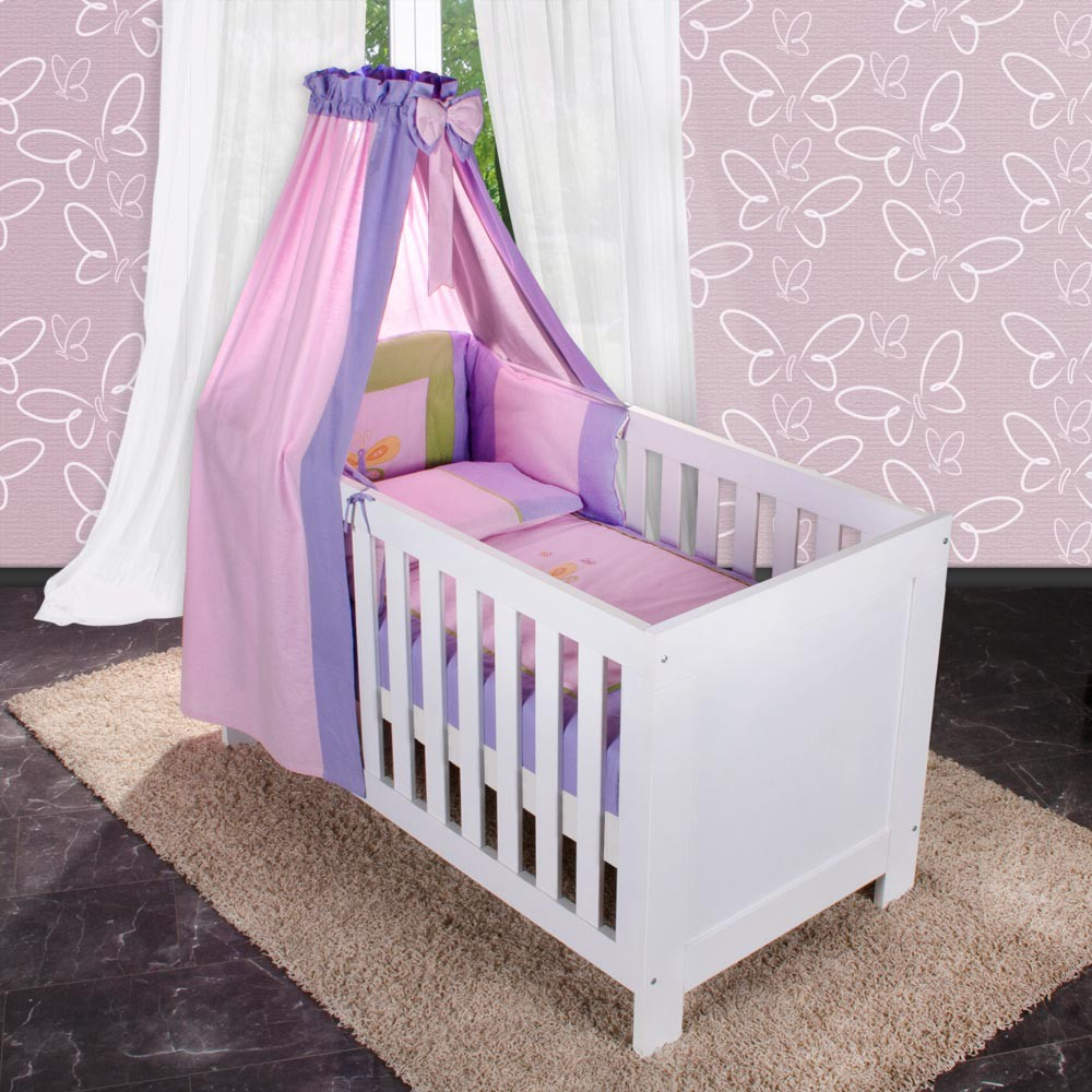 8 teiliges babybettset spring in rosa mit betttasche s duisburg. Black Bedroom Furniture Sets. Home Design Ideas