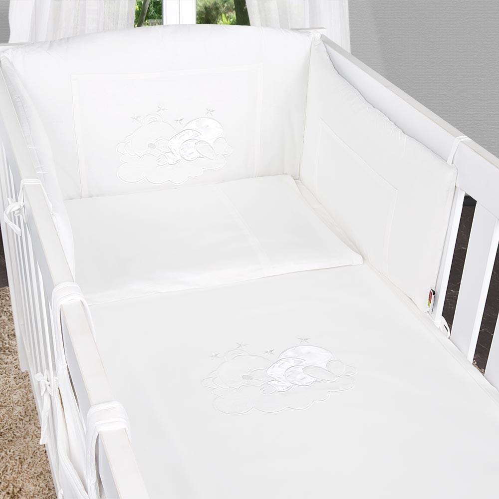 5-tlg. Babybettset Sleeping Bear in Weiß – Bild 5