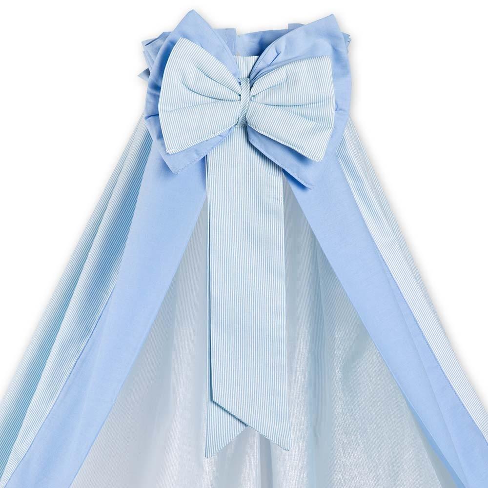 7-tlg. Bettsetpaket Prestij in blau inkl. Himmelstange und Spannbettlaken – Bild 2
