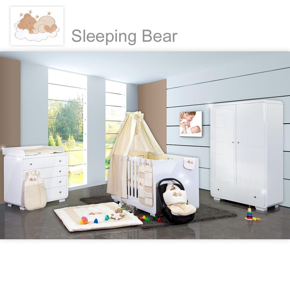 Babyzimmer Yves 19 Tlg. Mit 2 Türigem Schrank + Kl. Bett, Textilset