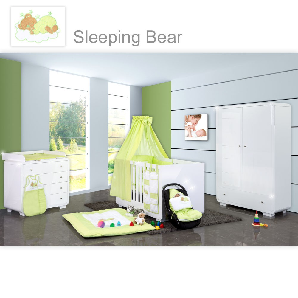 babyzimmer yves 19 tlg mit 2 t rigem schrank kl bett textilset sleeping bear in gr n baby. Black Bedroom Furniture Sets. Home Design Ideas
