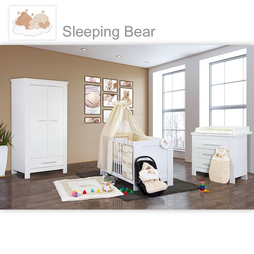 Babyzimmer Enni In Weiss 21 Tlg. Mit 2 Türigem Kl. + Textilien Sleeping Bear